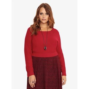 Torrid Long Sleeved Red Ribbed Knit Semi Cropped Pullover Sweater